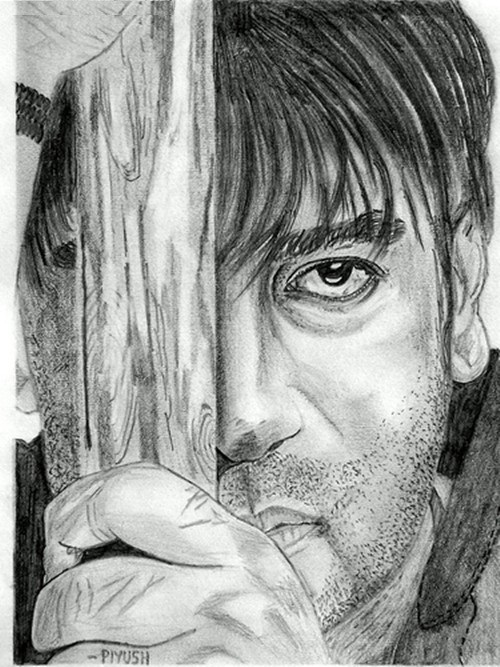 Ajay Devgan pencil sketch