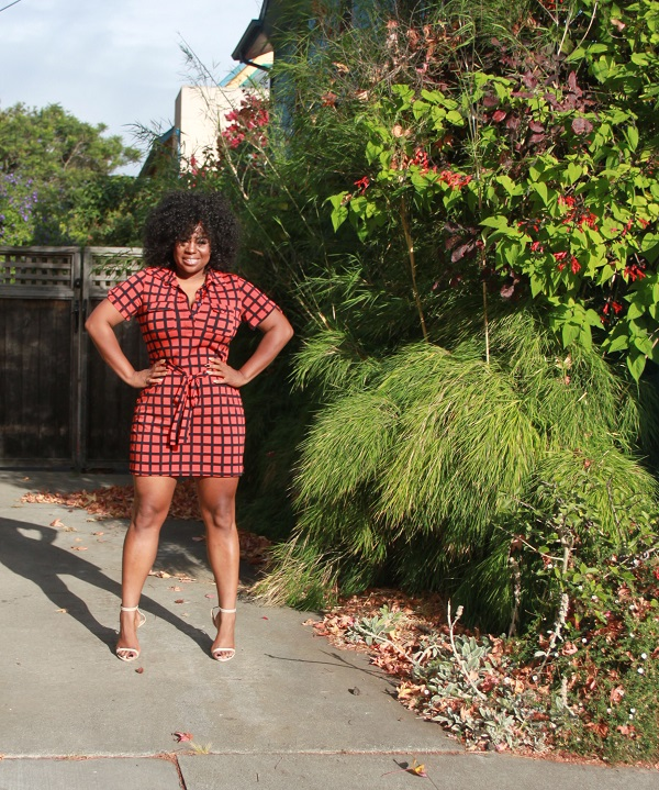 Miko wig, windowpane plaid dress orange navy, black bloggers, justfab verity shoes nude
