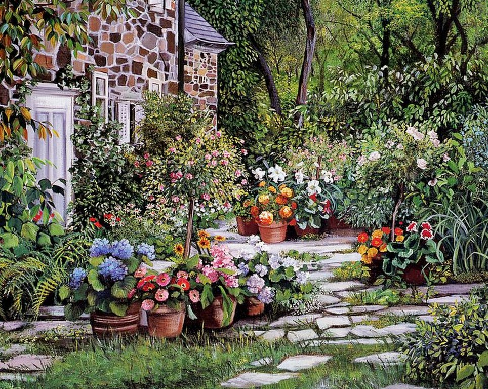 Im genes arte pinturas paisajes de jardines - Jardines y paisajes ...