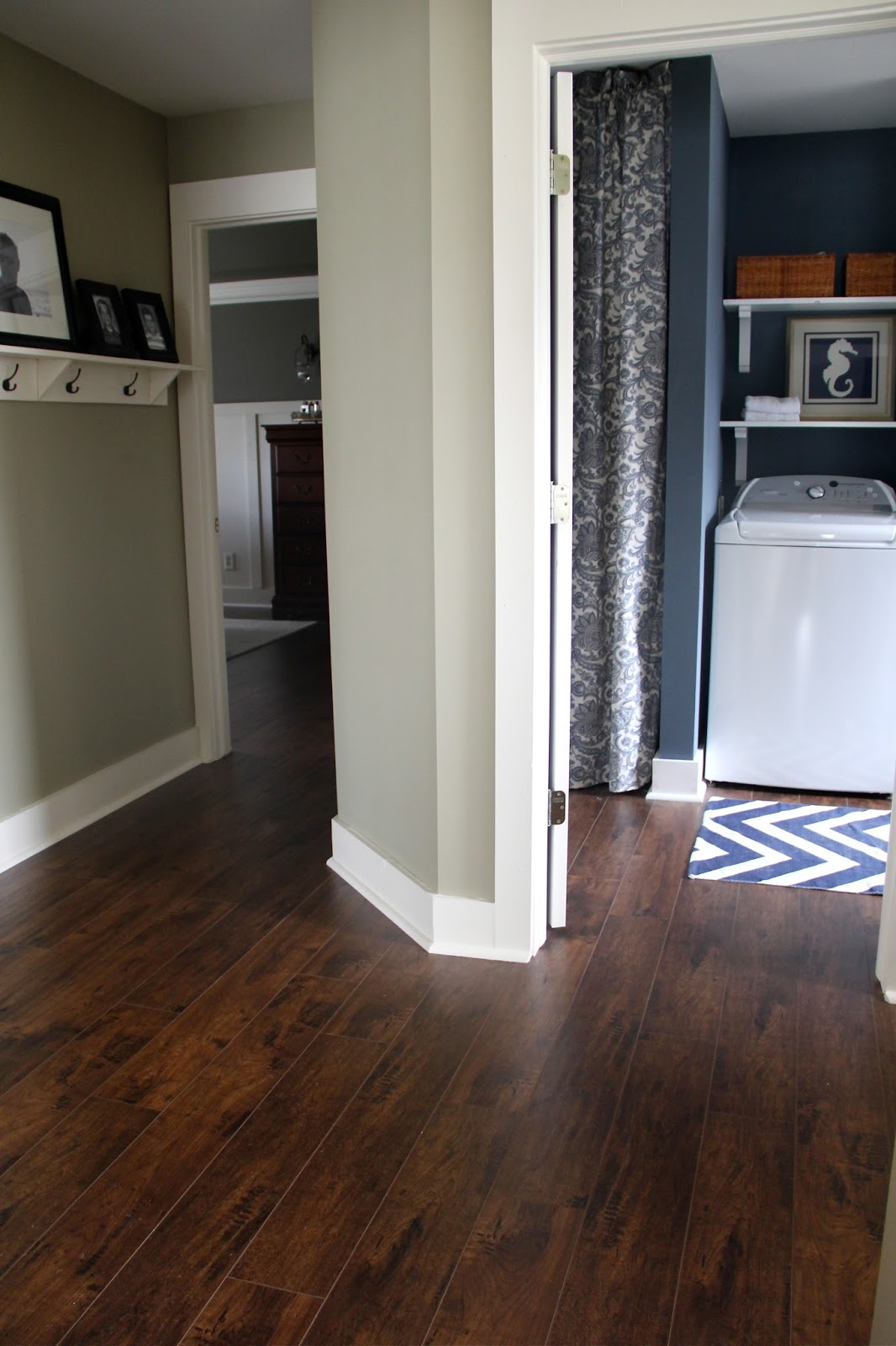 The yellow cape cod how to transition between two for Different colors of hardwood floors