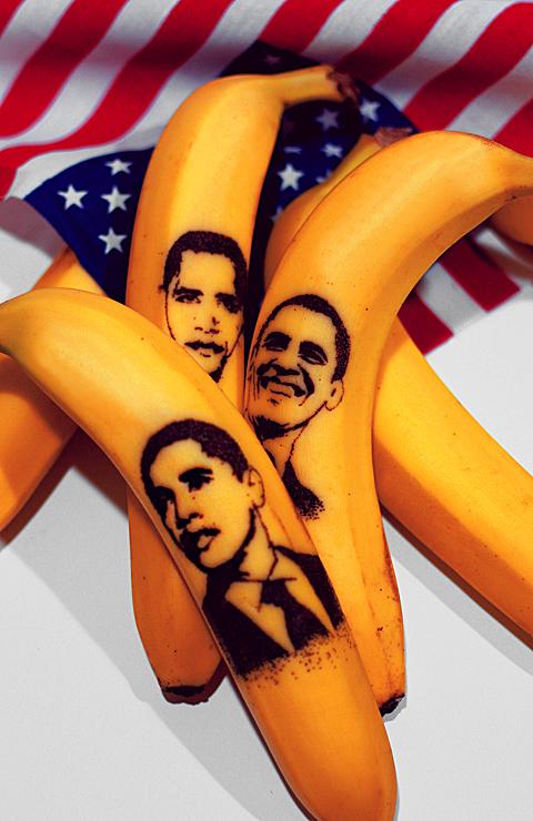 Obama Tattooed On Bananas
