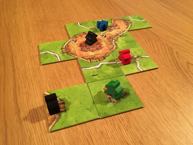 Typical placement of Carcassonne tiles