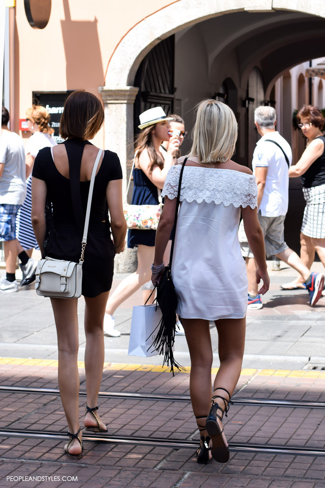 Off shoulder white dress, gladiator sandals and fringed bag street style in Zagreb, summer fashion, June 2015. What to wear to work in summer