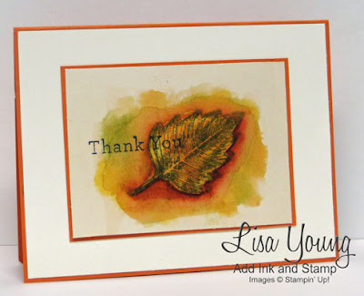 Stampin' Up! Vintage Leaves stamp set. Watercolored leaf in fall colors. Handmade card by Lisa Young, Add Ink and Stamp
