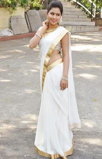 Manali Rathod in White Sareee with Golden Jari Border Cute Pics