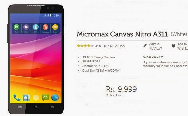 Buy Micromax Canvas Nitro A311 for Cheapest price Rs.9999 from Flipkart