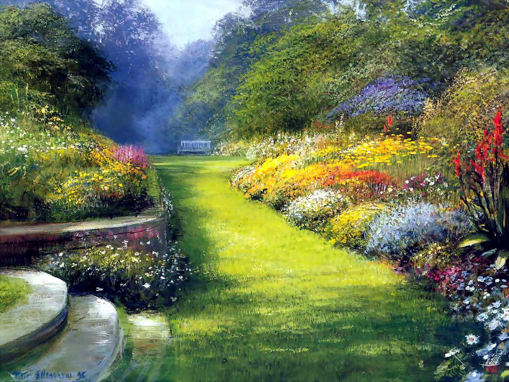 mon jardin fleuri peinture beau jardin peintre inconnu. Black Bedroom Furniture Sets. Home Design Ideas