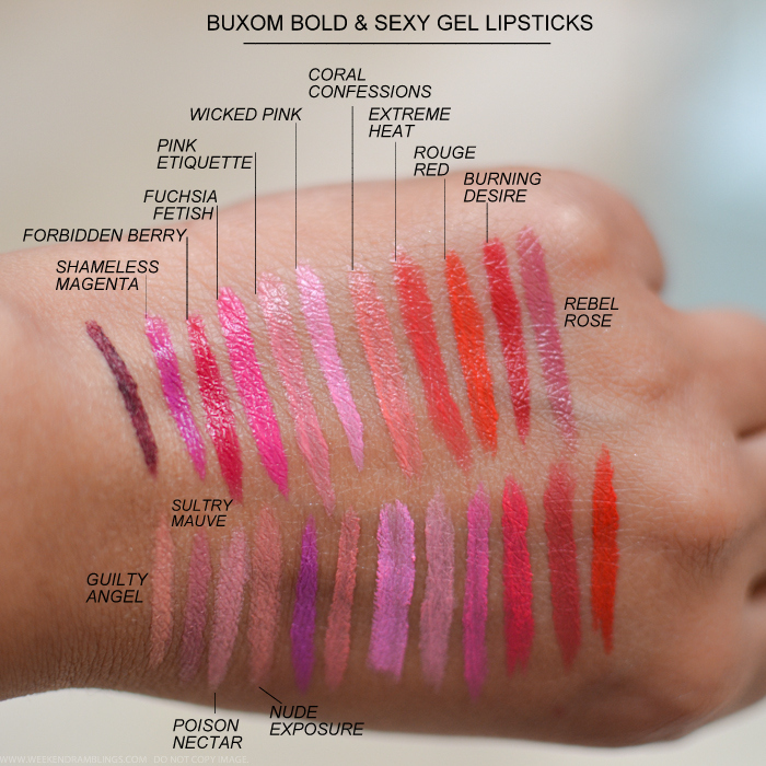 Buxom Big Sexy Bold Gel Lipsticks Swatches Shameless Magenta Forbidden Berry Fuchsia Fetish Pink Etiquette Wicked Pink Coral Confessions Extreme Heat Rouge Red Burning Desire Rebel Rose Guilty Angel Sultry Mauve Poison Nectar Nude Exposure
