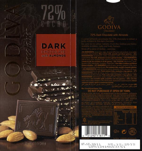 tablette de chocolat noir gourmand godiva noir amandes
