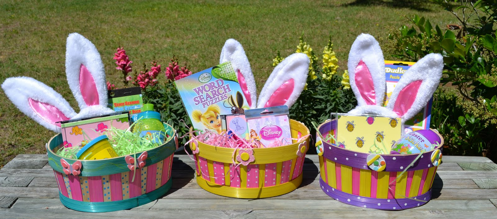 Stamp camp mollys easter egg hunt baskets here are alexander ella and elliotts ella is my goddaughter and i included a bunch of disney princess for her she loves tinker bell negle