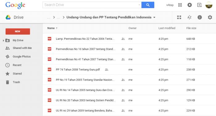 Undang-Undang dan Peraturan Pemerintah tentang Pendidikan Indonesia di Google Drive