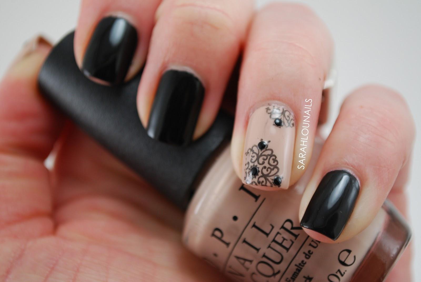 Sarah lou nails black nude nails - Nail art nude ...
