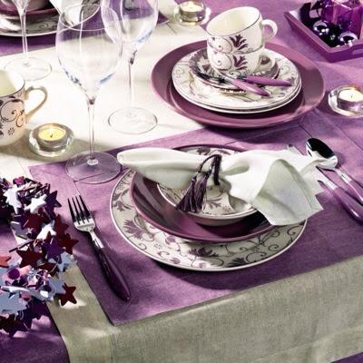 """Décoration de table de mariage """"blanche et parme"""""""