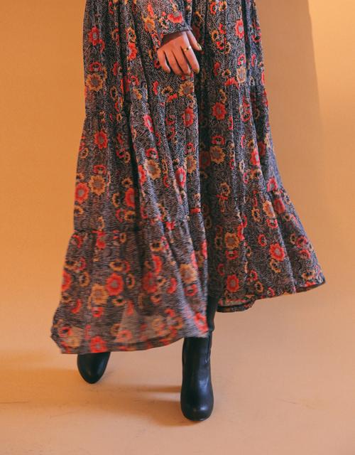 Vintage Floral Tiered Dress