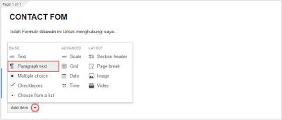 Membuat Paragraph text pada google form