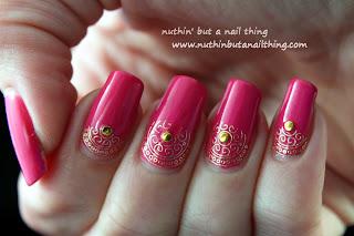 gold pink swirl nail art