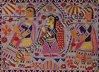 The body itself in its colourful clothes, is so treated in the colourful Madhubani world of paint, that life impulses are glorified with ease. Here the bride, being carried in a palanquin, is flowering into happiness. Space if filled with foliage to complete, by suggestion of smiles, the inwardly eagerness of woman going to man.