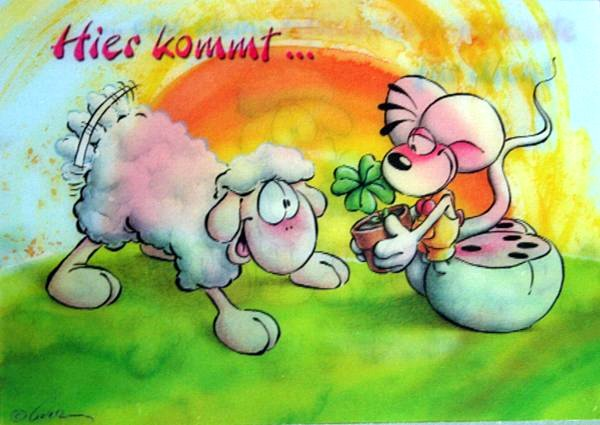 cartoon of sheep and four leafed clover