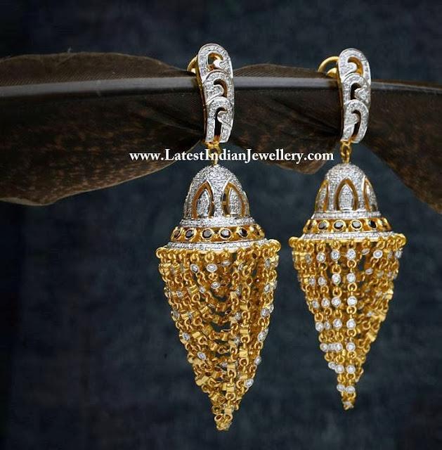 Fancy Diamond Chandelier Earrings