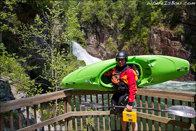 Bryan Kirk with a prototype Recon at the base of Tallulah falls, GA Georgia, Chris Baer, Fest, kayak
