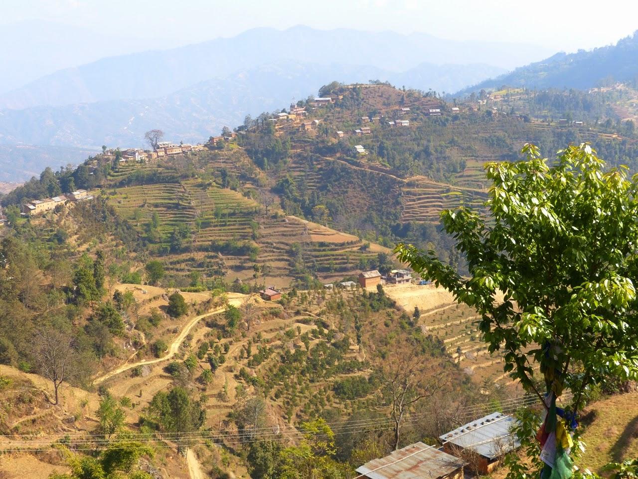 Surrounding hills and rice terraces view from Namobuddha, Nepal