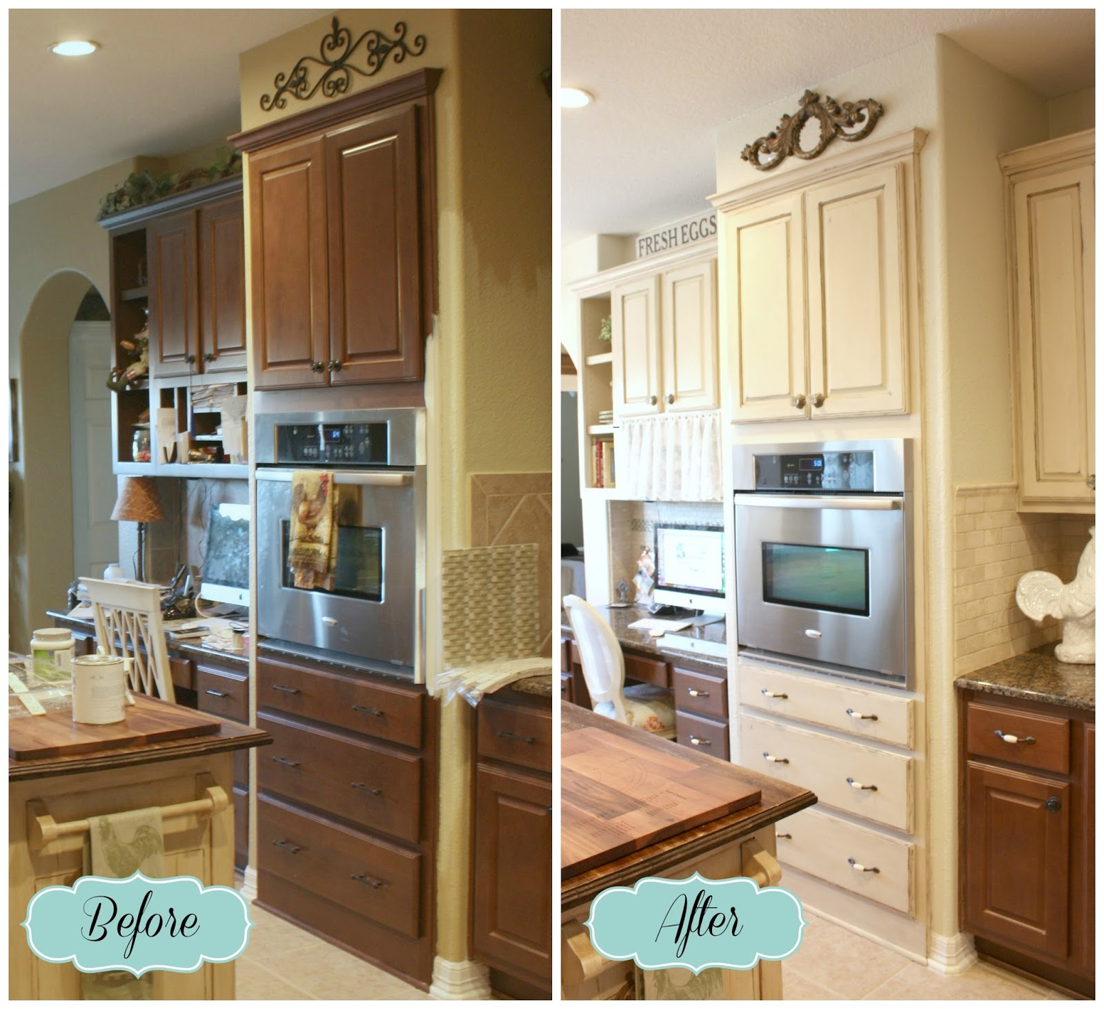 From my front porch to yours french farmhouse diy kitchen for Kitchen cabinets before and after