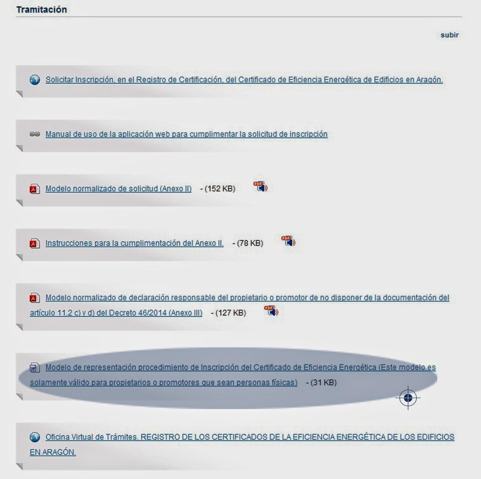 Registro certificado energético Aragón