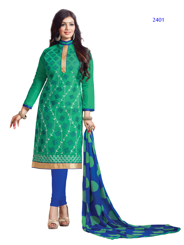Miss Aayesha – Silk Chanderi Cotton Dress Material with Chiffon Dupatta