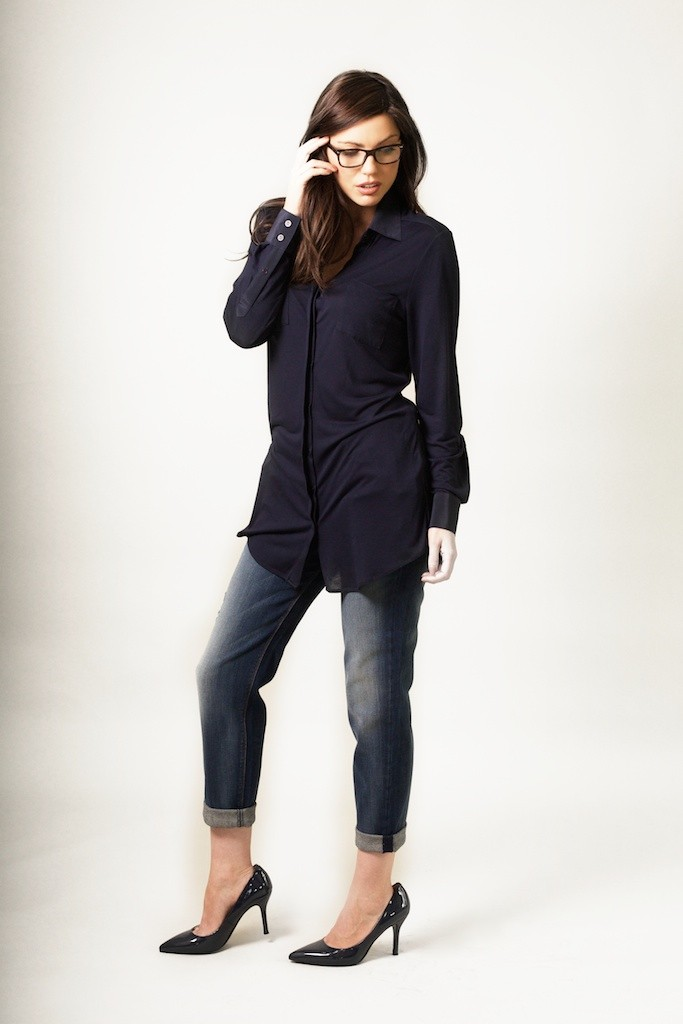 Rachel Wears Silk and Jersey Shirt