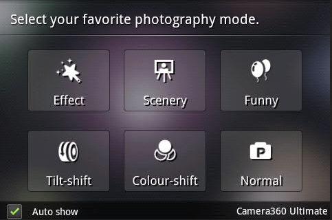 Camera360 - Pilih Mode