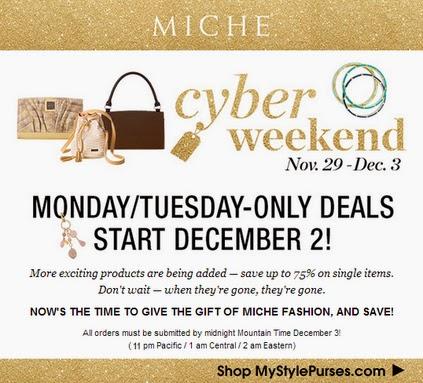 Shop Miche Cyber Monday Sale at MyStylePurses 12/2 - 12/3