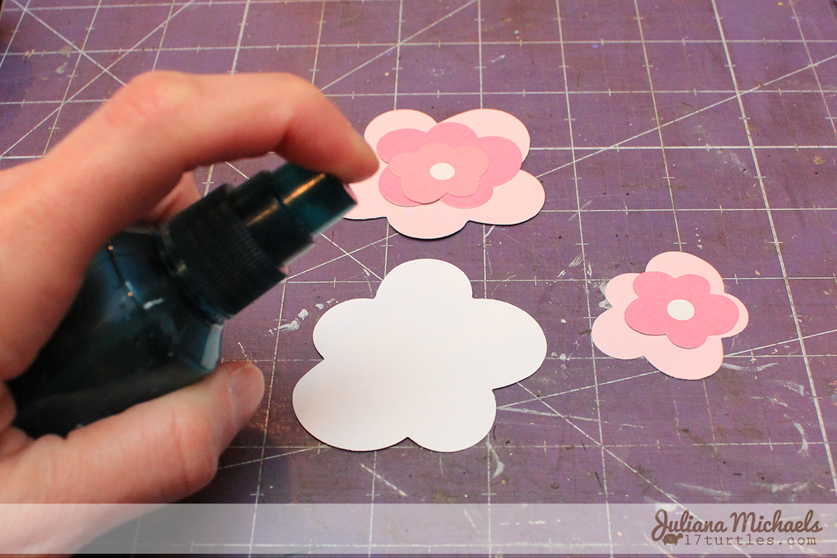 Step 1 - 3 Dimensional Die Cut Cardstock Flowers Tutorial by Juliana Michaels www.17turtles.com