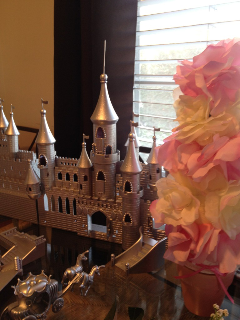 princess party silver castle centerpiece