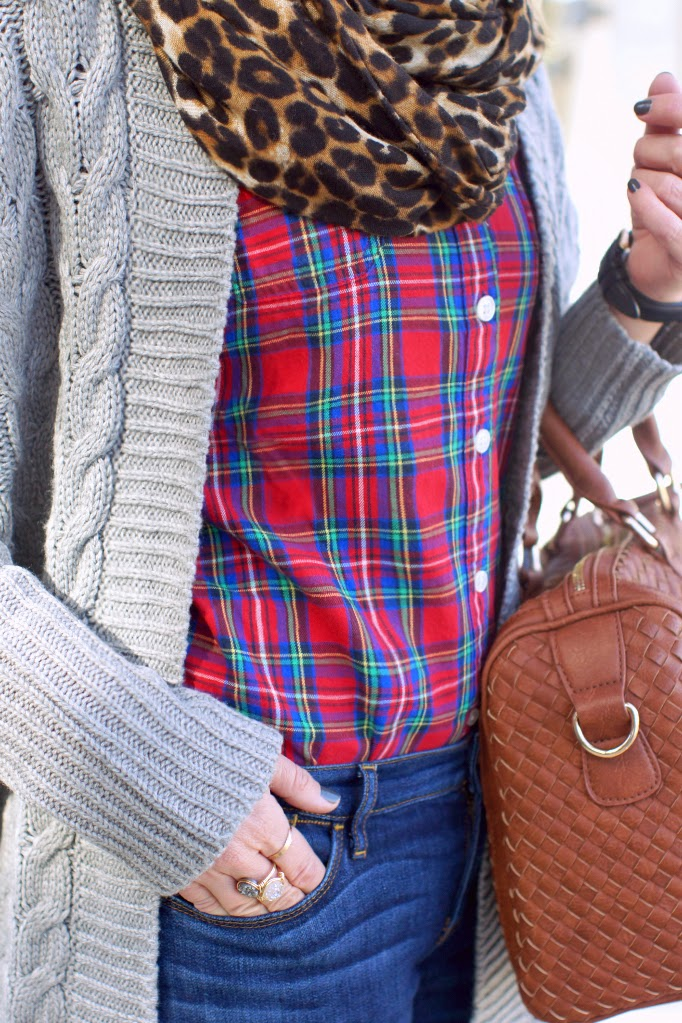 plaid and leopard layering