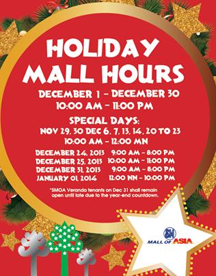 Manila Shopper: Major Malls & Theme Parks' Holiday Schedule 2013