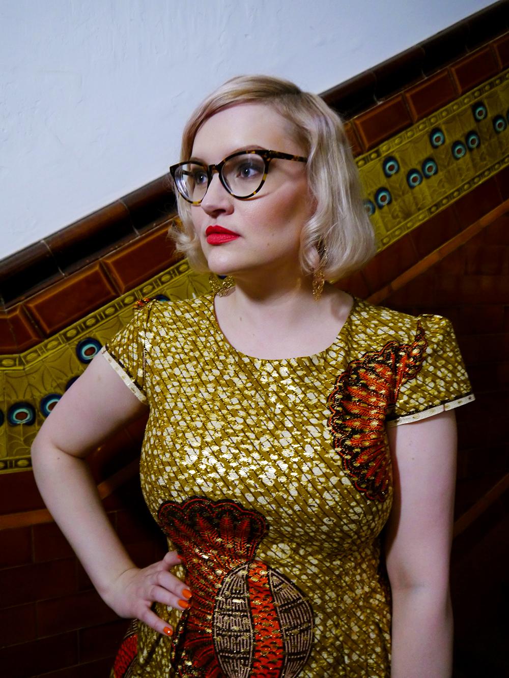 Rowanjoy, red lip, femme fatale, Herald Fashion Awards 2015, modern pincurl, IOLLA Muir frames, Glasgow tenement tiles, Indian waxed cotton fabric