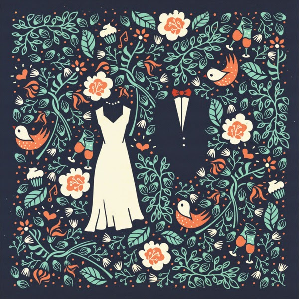 ilustración tarjetas de invitación de bodas