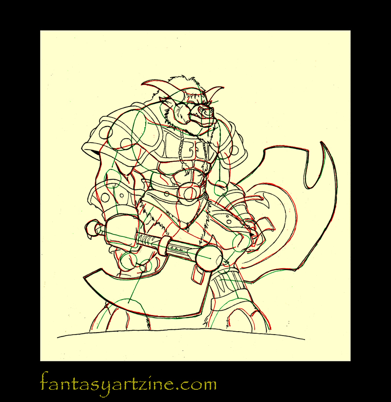 How to draw a Wow tauren warrior armor pencil frame and axe details