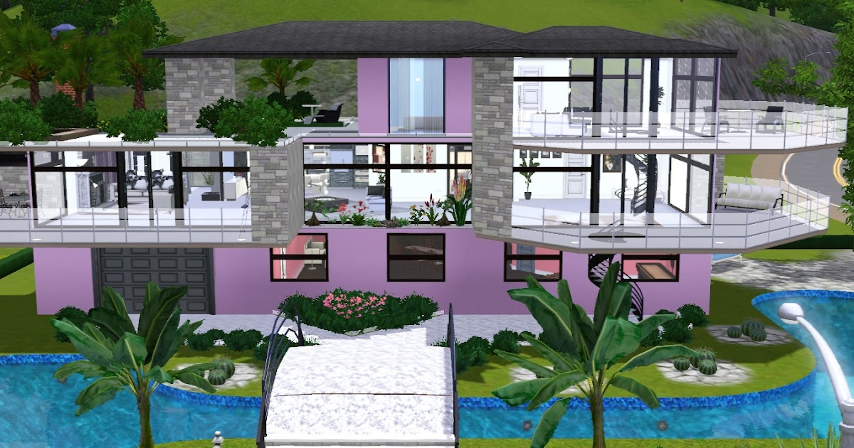 The sims giuly download e tutorial di the sims 3 pink modern house - The sims 3 case moderne ...
