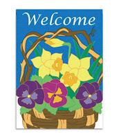 Floral Basket Applique Garden Flag