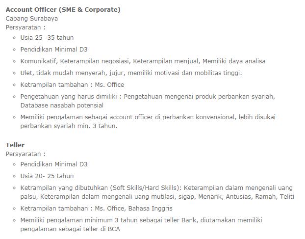 lowongan kerja bank bca syariah jakarta oktober 2014