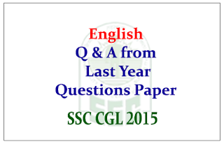 English Questions From Last year SSC CGL
