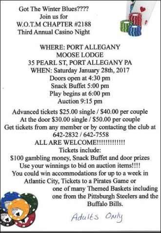 1-28 Casino Night, Port Allegany Moose