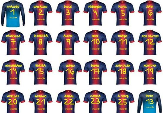 camisas de jogadores FC Barcelona tipografada por Anna Vives Troféu Joan Gamper 2013 Barça x Santos
