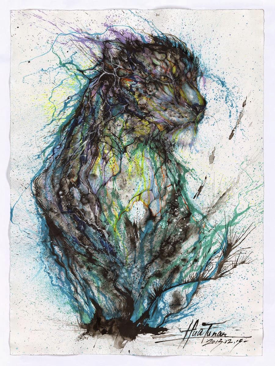 07-Leopard-1-Hua-Tunan-huatunan-Melting-&-Running-Ink-Drawings-www-designstack-co