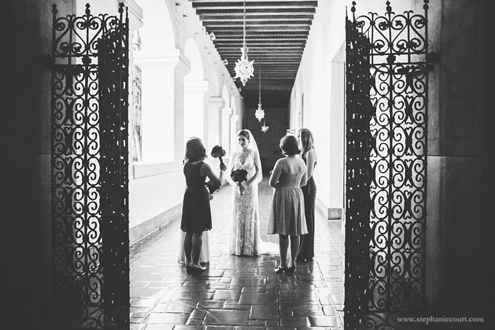 """bride and bridesmaids before ceremony at santa barbara courthouse"""