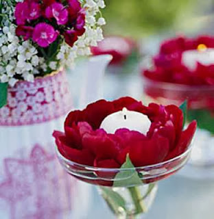 Centros de Mesa, Flores Rojas Flotantes