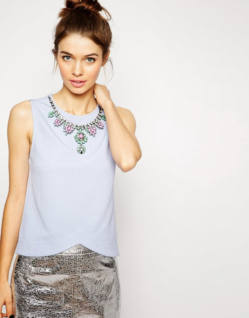 pale blue top with necklace