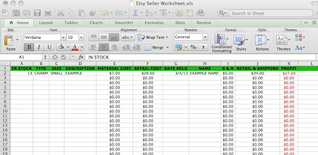 etsy tools seller worksheet sales spreadsheet excel accounting bookeeping