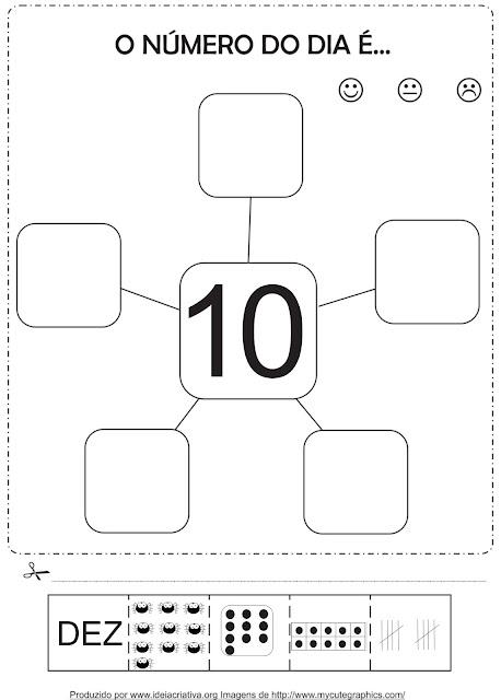 Atividade Representação dos Numerais 6 a 10 Corte e Recorte